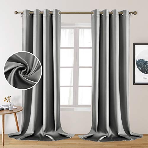 HOMEIDEAS 2 Panels Silver Grey Faux Silk Curtains Gray Blackout Curtains for Bedroom 52 X 108 Inch Room Darkening Satin Drapes/Curtains, Thermal Insulated Blackout Window Curtains for Living Room