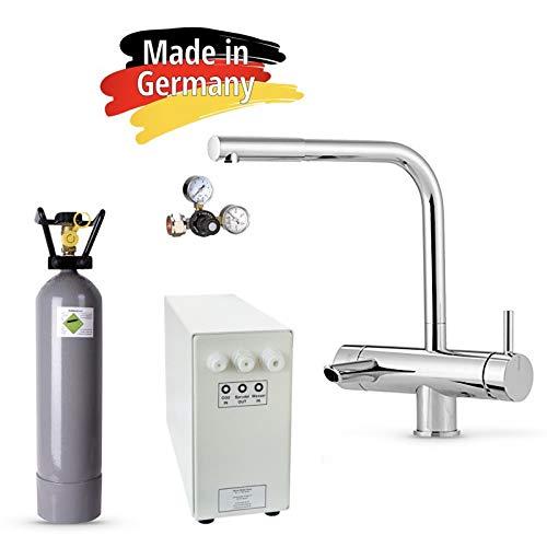 Sprudel-Lok Sprudel aus dem Wasserhahn! Untertisch-Trinkwassersystem - Trinkwassersprudler NEUHEIT! inkl. 3-Wege-Zusatzarmatur MORA + Eigentumsflasche CO2 2 kg und Anschluss-Set. Made in Germany