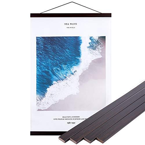 Benjia Magnetisch Posterschiene, Magnet Magnetische B4 Posterrahmen Holz Posterleiste Posterhänger für drucken Kunstwerk (25cm, Nussbaum)