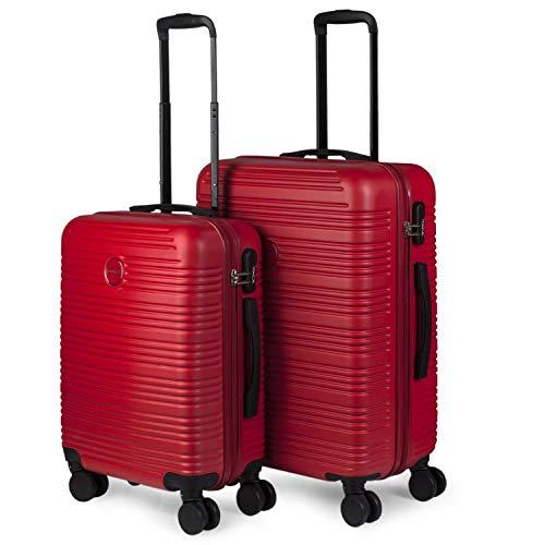 ITACA - Juego Maletas de Viaje rígidas 4 Ruedas Trolley 55 65 cm abs. duras s y Ligeras. Mango Asas y candado. 2 tamaños: pequeña Cabina Mediana. Estudiante. t72115, Color Rojo