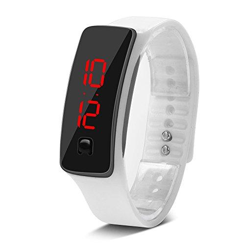 vgeby1reloj LED pulsera deportiva de silicona reloj digital con esfera de 12horas, blanco