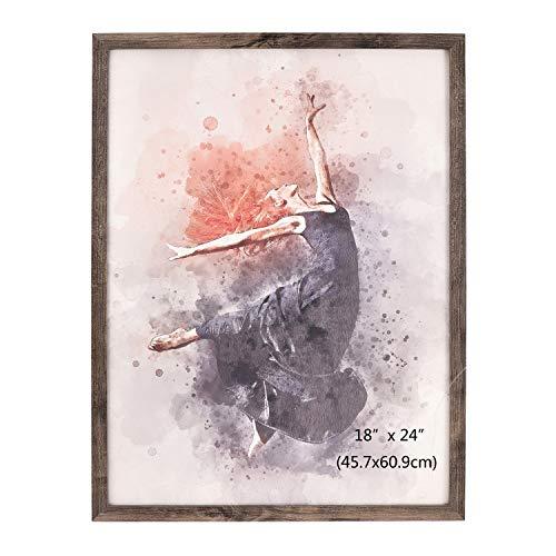 Metrekey Bilderrahmen 18x24 Zoll Groß Posterrahmen 45.7cm x 61cm Wanddekoration aus Walnut Holz MDF und Plexiglasscheibe zum Poster Kunstdrucke Hochzeitsfoto Familienfoto Abschlussfoto