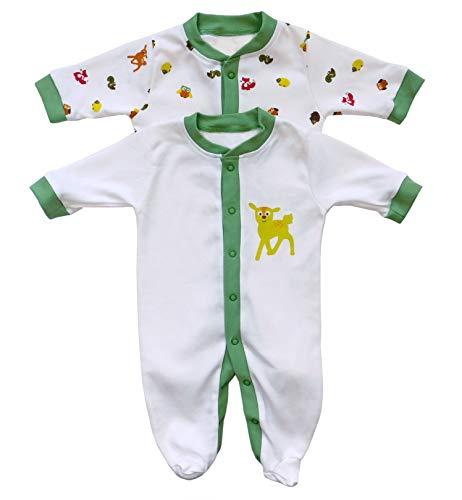 Slumbersac Barboteuse pour bébé manches longues imprimé amis de la fôret, Lot de 2 – Taille: 62cm/0-3 Mois
