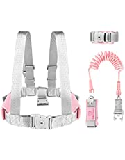 Simpeak 3 in 1 Toddler Safety Walking Harness and Safety Vest, 1.5M Adjustable Toddlers Safety Wrist Leashes Kid Walking Leash with Safety Lock - Blue/Pink