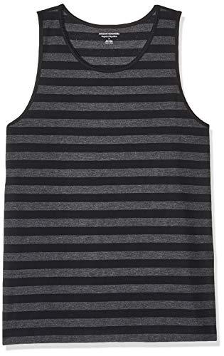 Amazon Essentials - Camiseta regular sin mangas para hombre, diseño de rayas, Negro / carbón jaspeado, US M (EU M)
