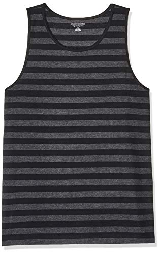 Amazon Essentials Men's Regular-fit Tank Top, Black/Charcoal Heather, X-Large
