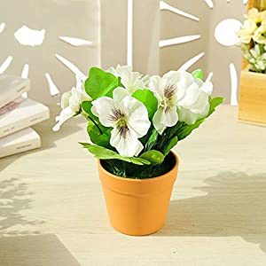 Artificial and Dried Flower Pansy Potted Artificial Silk Flowers for Home Decor Office Ornament Pansy Bonsai (with Plastic Pots) Simulates Potted Plants – ( Color: 04 )