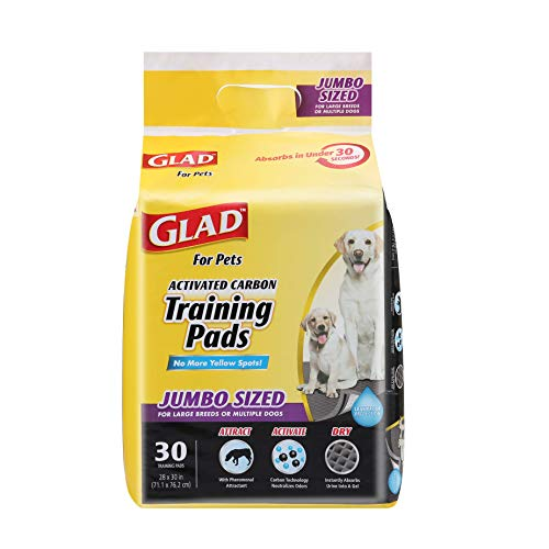 Glad for Pets JUMBO-SIZE Charcoal Puppy Pads | Black Training Pads That ABSORB & Neutralize Urine Instantly | New & Improved Quality Puppy Pee Pads, 30 Count Dog Training Pads