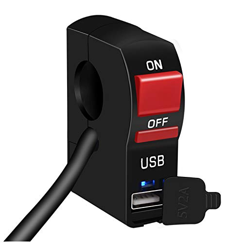 GZLMMY - Mini interruttore universale per manubrio e moto, con pulsante ON/OFF da 12 V, con indicatore LED e interfaccia di ricarica USB 2 A, per faretti LED (1)