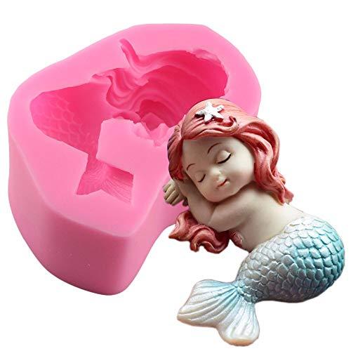 DAMUXIN Bautizo Sirena Molde de Silicona Fondant Cupcake Cake Decorating Herramientas para Hornear Molde de jabón Hecho a Mano Fish Fork Tail