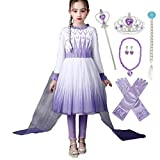 Kosplay Vestido Elsa para Niñas Princesa Cosplay Congelado 2 Disfraz de Reina de Hielo y Nieve Niños Cumpleaños Halloween Navidad Carnaval 3-12 Años