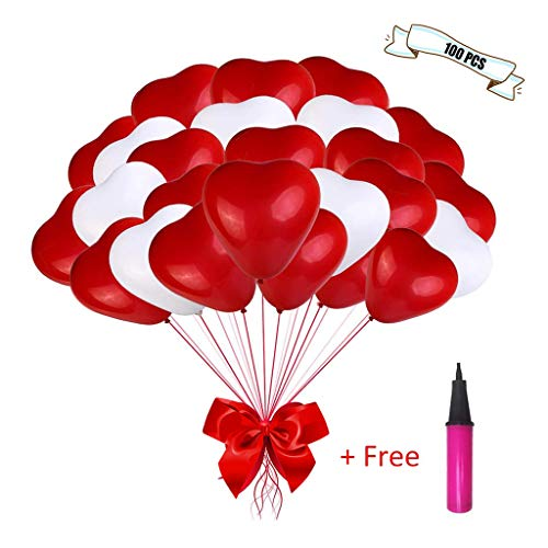 Amycute Herzluftballon Hochzeit, 100 Stück Herzballons Herz Ballons ROT WEIßE Mit Pumpe Herzen Ballons Dekorationen für Geburtstag Valentinstag Hochzeit Verlobung.
