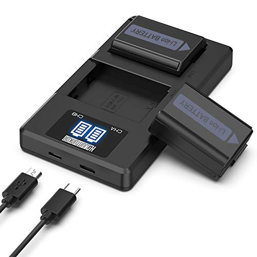 NP-FW50 Camera Battery Charger Set, Replacement Batteries for Sony A6000, A6500, A6300, A6400, A5100, A7,A7II, A7RII, A7SII, A7S, A7S2, A7R, A7R2, A55, RX10 (2-Pack, Micro USB & Type-C Ports, 1200mAh)