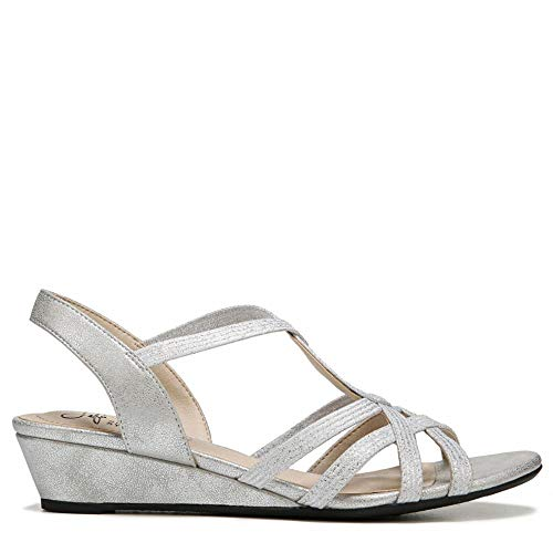 LifeStride Women's, Yaya Wedge Sandals, Soft Silver, Size 8.5