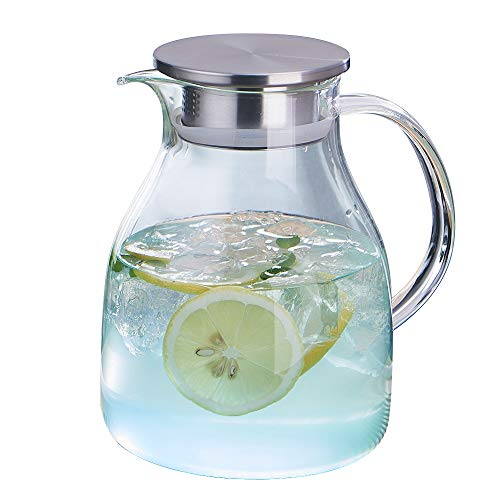 WarmCrystal, Large Glass Cold Teakettle or Teapot, Water Carafe with Handle, Good Beverage Glass Pitcher and Carafe for Tea, Coffee, Lemonade, Cold Water, Ice and Fruit Juice (58 oz)