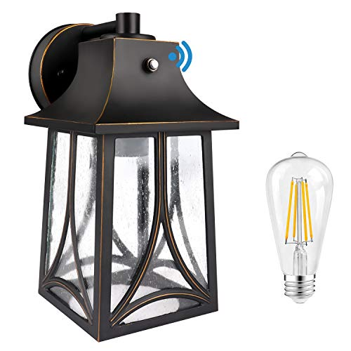 CINOTON Outdoor Wall Lantern, Dusk to Dawn Photocell Sensor Wall Sconce Die-Casting Aluminum Seeded Glass Shade Waterproof Outdoor Front Porch Lights Wall Mount Includes 2700K E26 LED Bulb