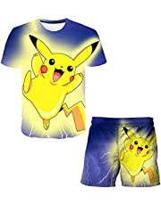 Aatensou 3D Pi-ka-chu T-shirt en shorts set, kinderen tweedelig badpak, jongens zomer pyjama