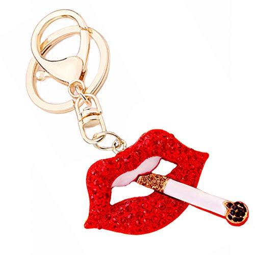 ZHTTCD Strass Pipe Lips sleutelhanger mode sieraden sleutelhanger ring voor vrouwen tas portemonnee charm hanger