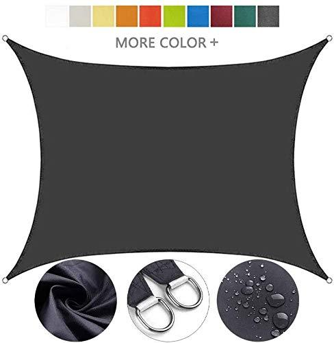 Lanxing Toldo Vela Rectangular Velas de Sombra Sun Impermeable rectángulo Canopy for Patio al Aire Libre, jardín, terraza y acampan, 95% UV Bloque toldo, 10 Colores (Color: Gris, tamaño: los 3X3M)