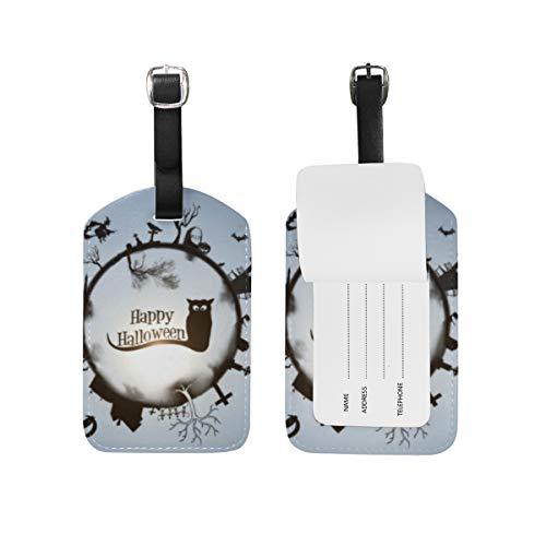 LORONA - Etiquetas para disfraz de Halloween de The Witch Cat Moon Owl Luggage Tags Strings Travel ID etiqueta para suitcase Carry-on Baggage