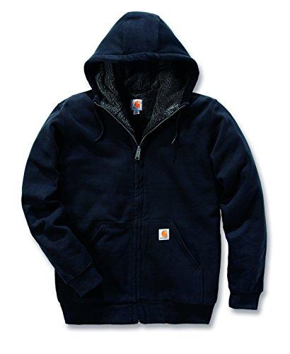 Carhartt 100072 Colliston Brushed Fleece Sherpa Lined Sweatshirt - Arbeits-Kapuzenjacke XXL Schwarz