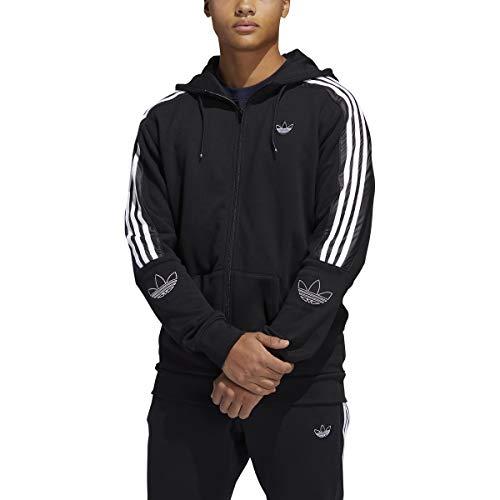 adidas Originals Men's Outline Hoodie 3-Stripes Zipper Black (Black/White, Small)