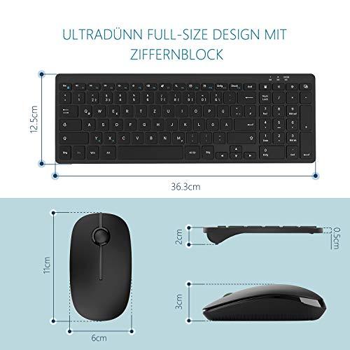 Jelly Comb Kabellose Tastatur und Maus Set, 2.4G Wireless Ultra dünn Tastatur und Flache Maus, Fullsize Deutsches Layout QWERTZ für Windows System, Schwarz