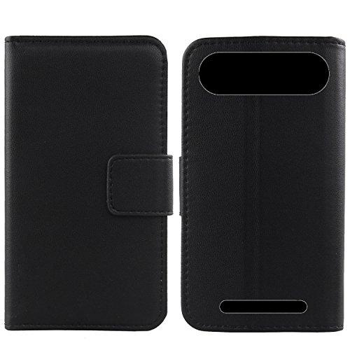 Gukas Design Echt Leder Tasche Für Doro 8035 TPU Silikon Hülle Lederhülle Handyhülle Handy Flip Brieftasche mit Kartenfächer Schutz Protektiv Genuine Premium Hülle Cover Etui Skin (Schwarz)