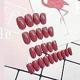 rpbll 24pcs / set Round Bride False Nails set Bean Red Colors Fake NailsAcrílico Artificial Fake Nail Art Tips con pegamento presionecomo