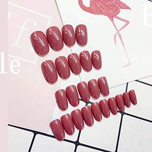 rpbll 24pcs/set Round Bride False Nails set Bean Red Colors Fake Nails Acrylic Artificial Fake Nail Art Tips with Glue press on as