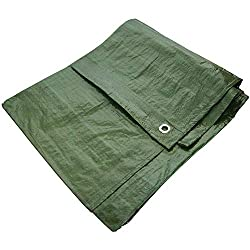 You will receive 2.4m x 3m / (8ft x 10ft = 80sq ft) Green Tarpaulin. Please allow 5% Minis size Tolerance. Laminated - Woven polypropylene - Tear proof - Shrink proof and Rot proof - Waterproof -UV Resistant IDEAL PRODUCT: Garden, Picnic, Garage, Lei...