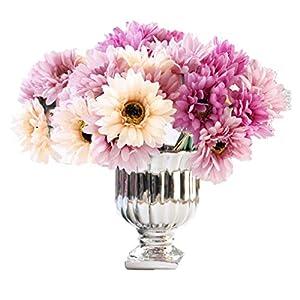 Silk Flower Arrangements LNHOMY Daisy Artificial Flowers 14 Stems Silk Daisies Flower for Wedding Bouquet Living Room Office Party DIY Home Decoration, (Champagne Purple)