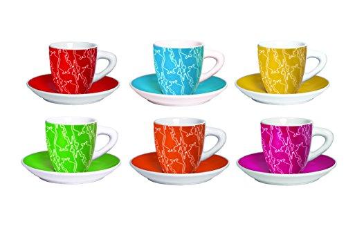 Bialetti Y0TZ012 6 Espressotassen mit Untertasse, Porzellan, bunt, 23.8 x 17.4 x 8.4 cm, 12-Einheiten