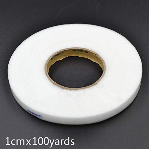 NOLOGO Gxbld-yy 100 Yards 91 Meter Weiß doppelseitiges Klebeband Schmelzsicherungen Gewebe-Klebeband-Eisen auf DIY Tuch Kleider Sewing Zubehörs (Farbe : 1cm Width)