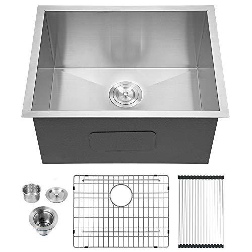 "Lordear 23"" x 18"" x 12"" Deep Laundry Utility Sink Undermount Single Bowl 16 Gauge Stainless Steel Laundry Room Sink Basin"