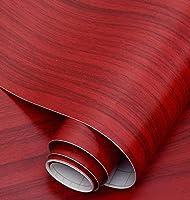 木目調壁紙壁紙自己粘着デスクトップキャビネットドアステッカー模造木材古い家具改修ステッカー装飾ボーイングフィルム-赤い木目_60cm * 5m