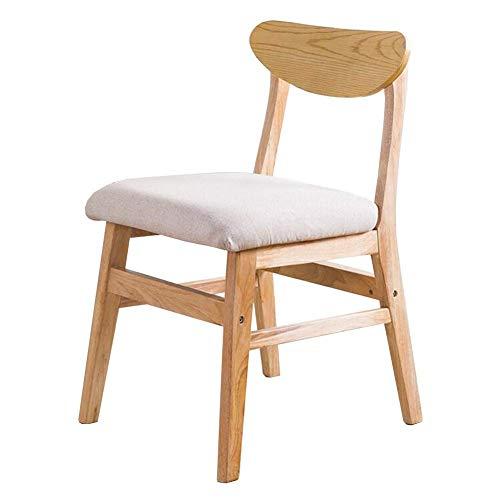 JIEER-C Vrijetijdsstoelen eetkamerstoel, trendy schrijftafel rugleuning stoel computer stoel massief hout moderne afzonderlijke stoel 48x50x74 cm duurzaam sterk kaki