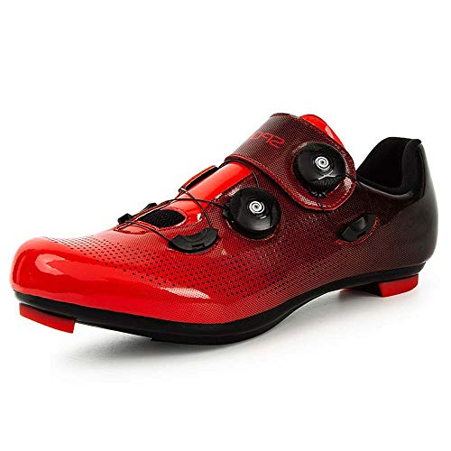 Calzado De Ciclismo Antideslizante para Hombre, Calzado De Ciclismo De Carretera De Fibra De Carbono Transpirable, Calzado De Ciclismo De Bicicleta De Montaña con Férula (42,Negro)