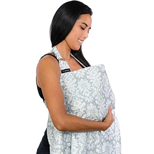 QHKYT Copertura per allattamento al seno, leggera e traspirante, in cotone, per allattamento al seno, copertura completa, cinghia regolabile, elegante ed elegante