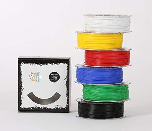 Print with Smile - Filament 3D PLA - Kit de démarrage - 1,75 mm - 6 x 1 kg