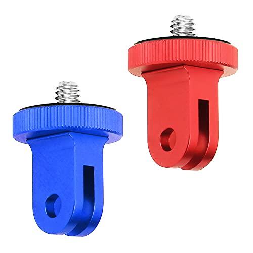 Unvtap 2 Pcs Adaptador de Tripode 1/4 Adaptador de Montaje Camara Adaptador de Montaje de Metal(Azul,Rojo)