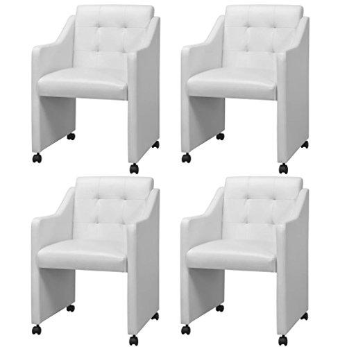 vidaXL 4X Esszimmerstuhl mit Rollen Weiß Stuhlgruppe Küchenstuhl Sessel