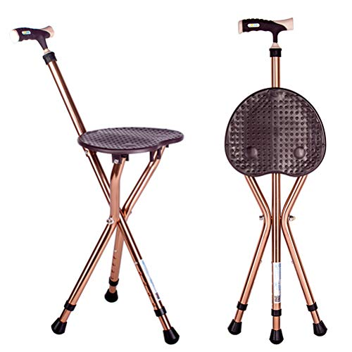 Folding Cane Seat Combo 400 lbs Capacity Portable Cane Stool Handy Folding Crutch Chair Seat 3 Legs Height Adjustable Heavy Duty Thick Aluminum Walking Stick Tall Unisex for Elderly Travelon Brown