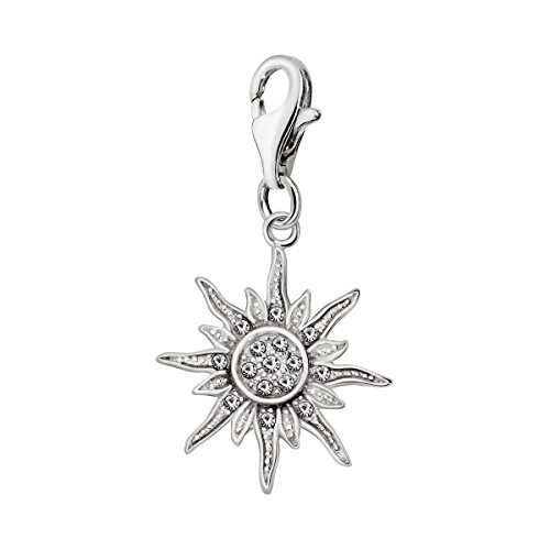 Quiges 925 Sterling Silver White Cubic Zirconia Sun Rays Lobster Clasp Charm Clip on Pendant