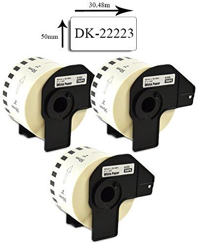 Bubprint 3 Etiketten kompatibel für Brother DK-22223 DK 22223 für P-Touch QL 500 550 570 700 710W 720NW 800 810W QL820NWB 1050 1060N 50mm x 30,48m Set