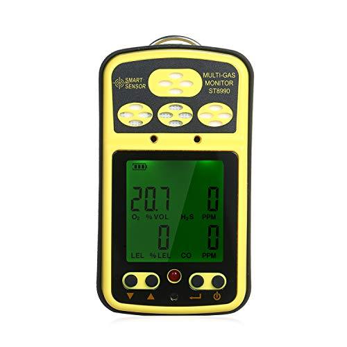 SMART SENSOR Gasmelder ST8990 wiederaufladbarer 4-in-1 Sauerstoff Schwefelwasserstoff Kohlenmonoxid Brenngaserkennung mit Hintergrundbeleuchtungsalarmfunktion LCD-Anzeige europäischer Stecker