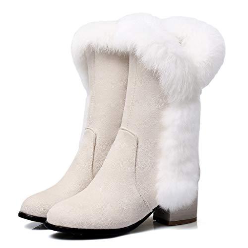 YXIU Women's Wildleder Plüsch Mid Boot Warm Schneeschuhe Square Heels Stiefel