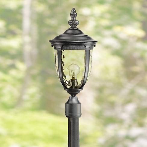 Bellagio Traditional Outdoor Post Light with Flat Base Pole Texturized Black 99 3/4