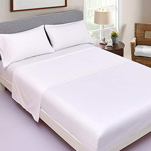 JSD White Cooling Bamboo Sheet Set King Size, Breathable Silky Soft Touch, 4 Piece Bed Sheet Set 16' Extra Deep Pocket