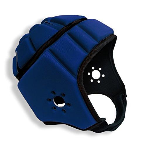 EliteTek Soft Padded Helmet Headgear Protection: 7on7 Tournaments, Flag Football, Team Sports, Training, Rugby, Lacrosse, Soccer, Practice & Epilepsy FITS Youth & Adult! (Navy Blue, Medium)